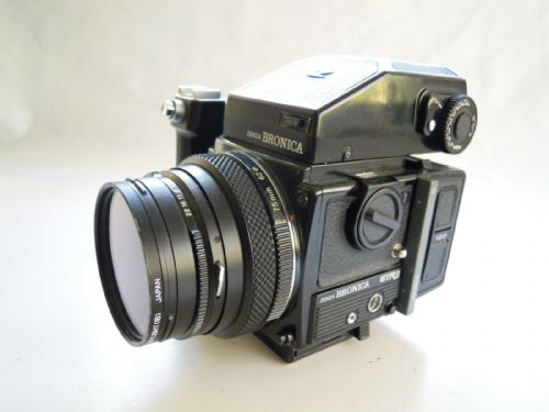 Bronica ETRSi Camera with 75mm lens, 120 Mag, Prism and Grip